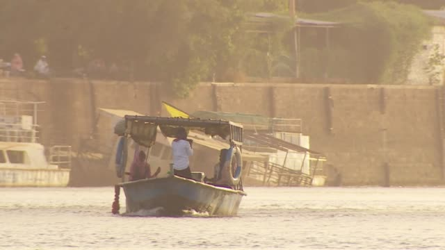 boat going down the nile in khartoum sudan - river nile stock videos & royalty-free footage