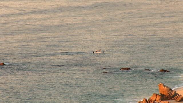 boat in cabo's beach - baja california peninsula stock videos & royalty-free footage