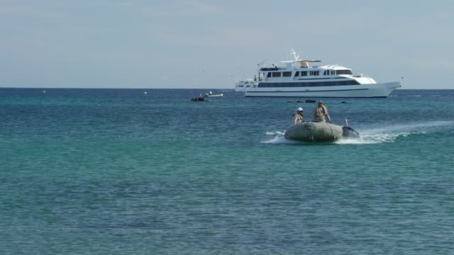 boat in the galapagos - galapagos islands stock videos & royalty-free footage