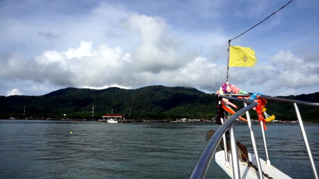 Boat Journey to Old Town Harbor Pier, Ko Lanta, Krabi, Thailand.