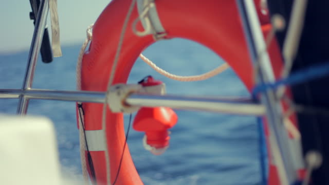 boat lifebouy sailing - life belt stock videos & royalty-free footage