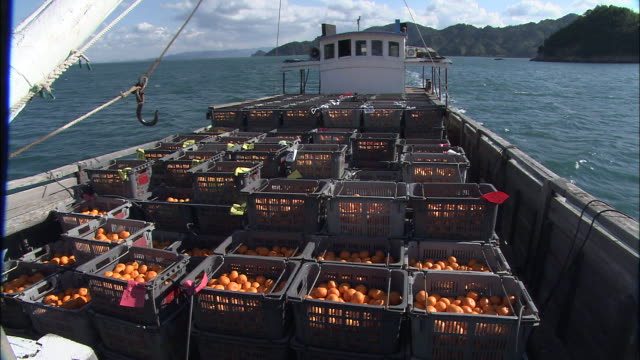 Boat loaded with crates of satsuma oranges travels along Seto Inland Sea