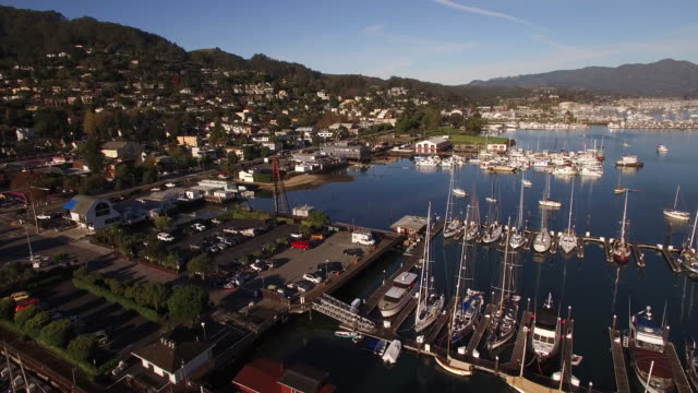 boat marina view, marina san francisco, aerial, 4k, stock video sale - drone discoveries llc -drone aerial video california coast with bridges, marina, boats and kayaking, 4k transportation - jachthafen stock-videos und b-roll-filmmaterial
