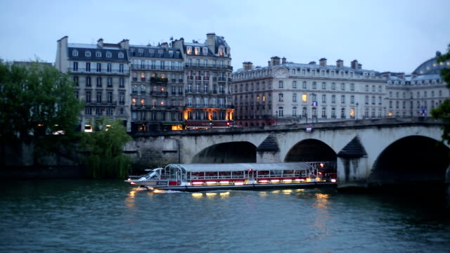 bateau mouche on seine river. - lightship stock videos & royalty-free footage