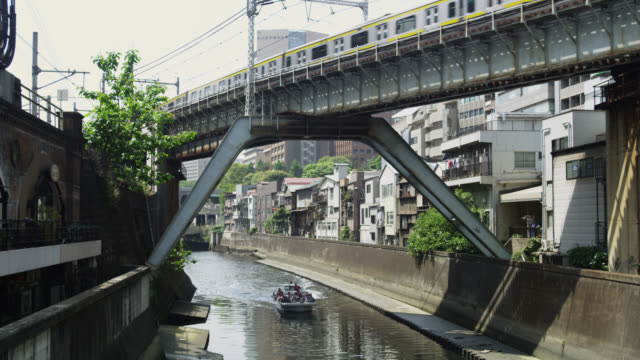 ws boat moving on canal / tokyo, tokyo-to, japan - canal stock videos & royalty-free footage