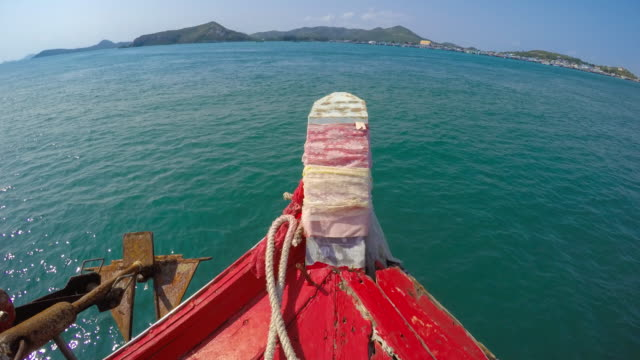 ws t/l pov boat navigates from koh samae san island to sattahip district, chonburi, thailand - mack2happy stock videos and b-roll footage