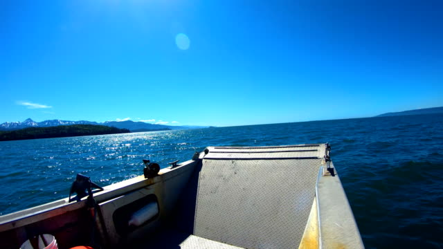 boat pov ocean waters northern pacific wilderness alaska - pacific war stock-videos und b-roll-filmmaterial