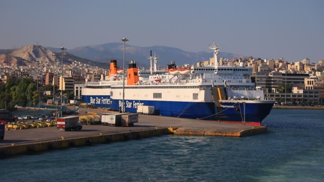 stockvideo's en b-roll-footage met a boat of blue star ferries company pictured at athens main harbor 'piraeus' during a ferry departure on august 8 2020 in athens greece first port... - veerboothaven