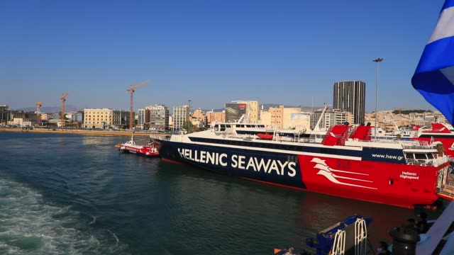 stockvideo's en b-roll-footage met a boat of hellenic seaways company pictured at athens main harbor piraeus during a ferry departure on august 8 2020 in athens greece first port and... - veerboothaven