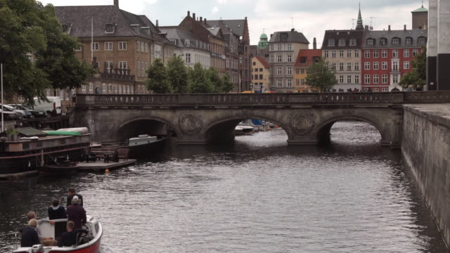 boat on frederiksholm kanal in copenhagen - copenhagen stock videos & royalty-free footage
