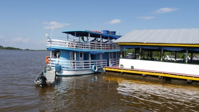 boat on rio negro in manaus - moored stock videos & royalty-free footage
