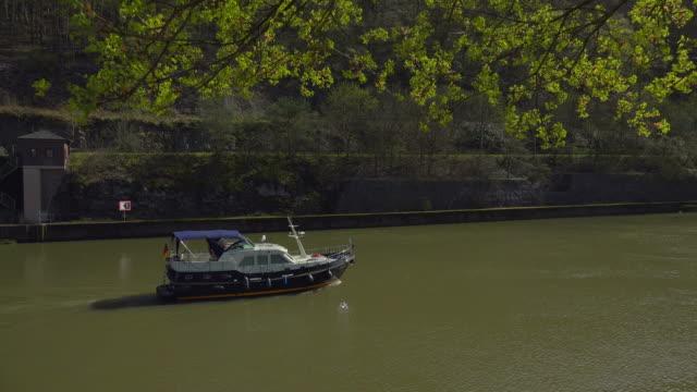 Boat on Saar river in Mettlach, Saarland, Germany