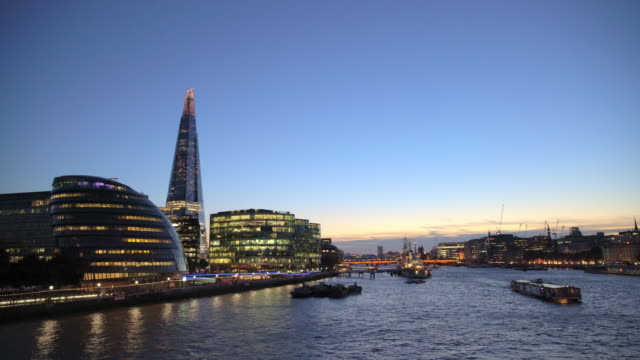 boat on the thames with city view - river thames stock videos & royalty-free footage