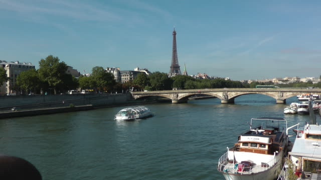 Boat passing through River Seine in Paris, France