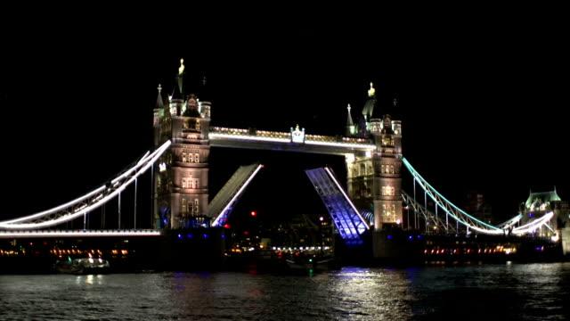 Boat passing through Tower Bridge, London