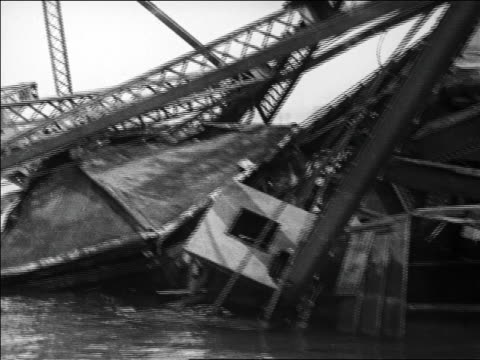 boat point of view collapsed bridge in water / san francisco / newsreel - 1926 stock videos & royalty-free footage