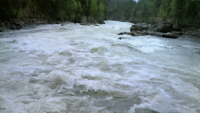 boat point of view moving swiftly over rapids / british columbia, canada - rapid stock videos & royalty-free footage