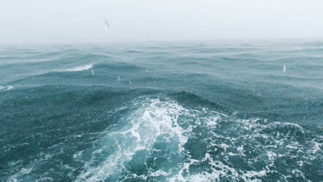boat point of view ocean seascape during extreme weather monsoon storm - seascape stock videos & royalty-free footage
