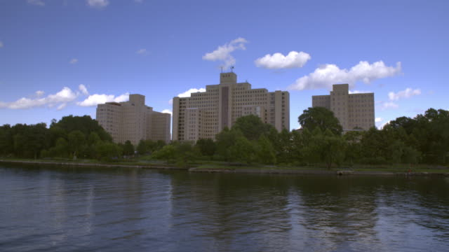Boat ride passes Randals Island and The Manhattan Psychiatric Center.