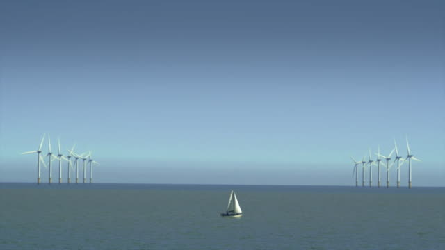 boat sails past wind turbines - less than 10 seconds stock videos & royalty-free footage