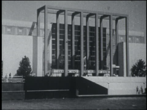 B/W 1933 boat side point of view Horticulture Hall building with columns / Chicago World's Fair