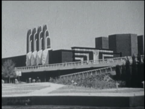 B/W 1933 boat side point of view Social Science building with ramp in front / Chicago World's Fair