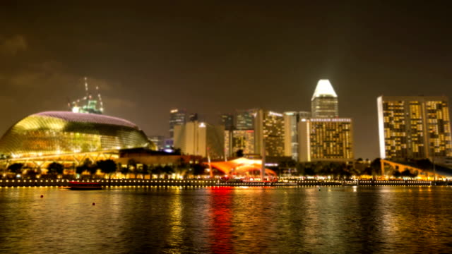 boat singapore by night time lapse. - full hd format stock videos & royalty-free footage