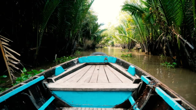 boat through mekong delta - vietnam stock videos and b-roll footage