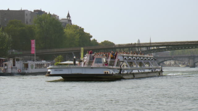 boat tour on seine river / paris, france - river seine stock videos & royalty-free footage