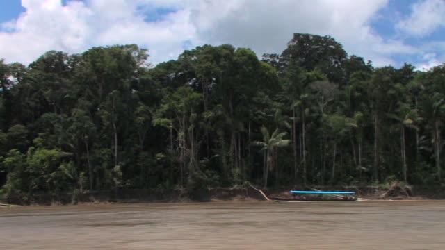 WS TS boat POV tourboat on river/ Manu National Park, Peru
