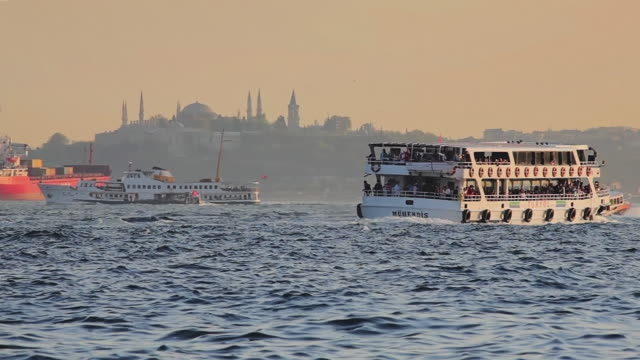 ws boat traffic in bosphorus straight, istanbul, turkey - bosphorus stock videos & royalty-free footage