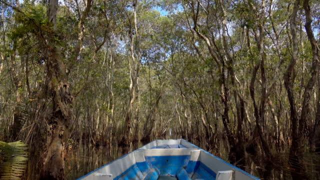 POV of Boat travel in tropical Lagoon 'Talay noi'