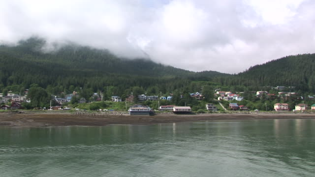 ws, boat traveling along coastline juneau, alaska, usa - juneau stock videos and b-roll footage