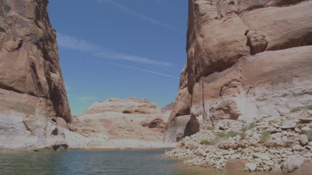 ws pov boat traveling at powell lake / page, neveda, united state - lake powell stock videos & royalty-free footage