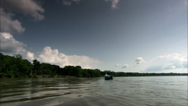 a boat travels down the amazon river. - river amazon stock videos & royalty-free footage