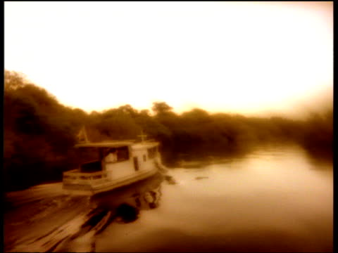 boat travels on amazon river, forest on river bank, sepia effect - sepia stock videos & royalty-free footage