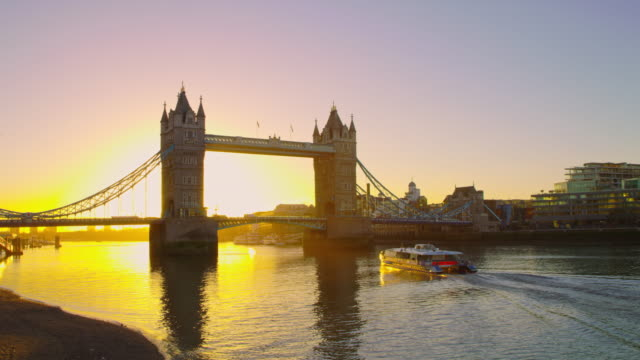 ws boat trip at tower bridge in the sunrise - town hall stock videos & royalty-free footage