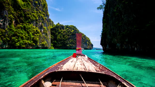 boat trip in tropical lagoon - thailand stock videos & royalty-free footage