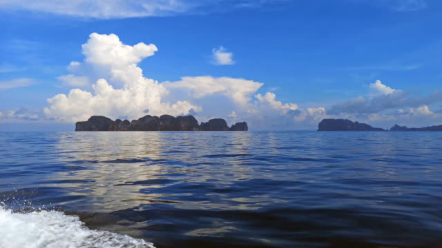 boat trip to phi phi islands, thailand - phi phi le stock videos & royalty-free footage