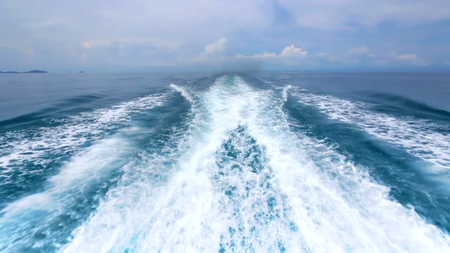 stockvideo's en b-roll-footage met boat wake on the blue ocean sea - nautical vessel