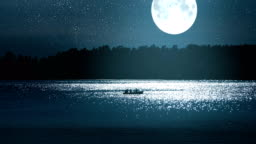 Boat with Fishermen in Full Moon