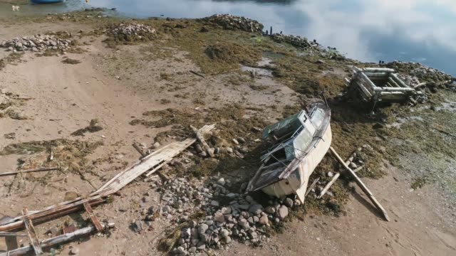 boat wreck on the shore - coastal feature stock videos & royalty-free footage