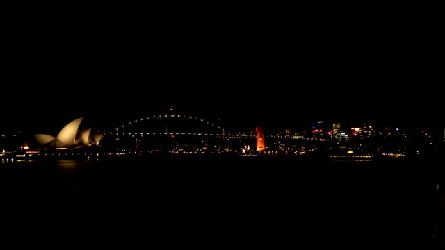 boat yacht ferry moving across sydney harbour opera house at end of bennelong point harbour bridge city skyline bg - bennelong point stock videos and b-roll footage