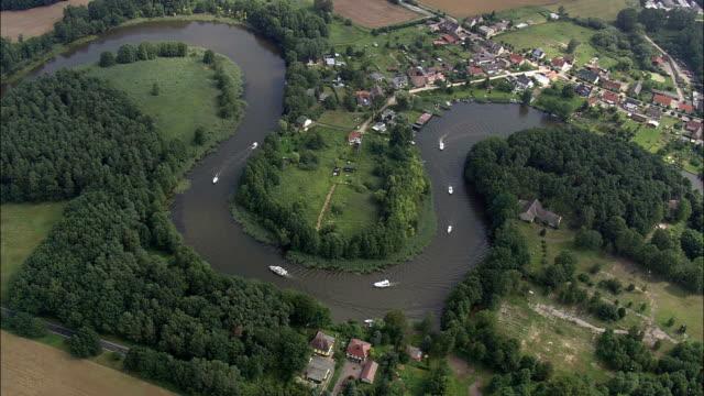 Boating Activity Around Bredereiche  - Aerial View - Brandenburg,  Germany