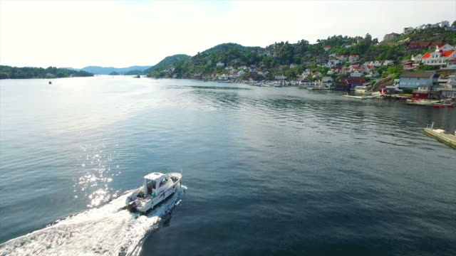 boating in to the harbor of kragero - telemark stock videos and b-roll footage