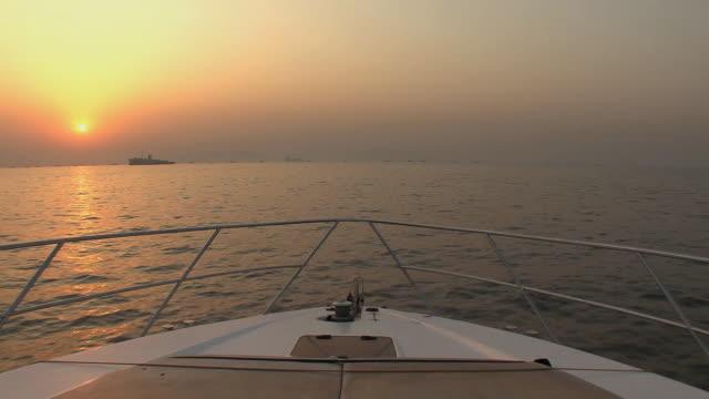 MS POV Boating on Arabian Sea at dawn, Mumbai, India