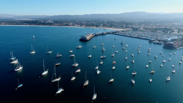 boats anchored in monterey bay marina monterey california - monterey county stock videos and b-roll footage