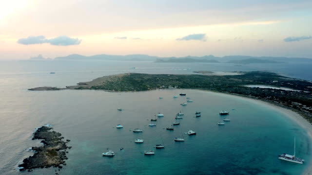 boats anchored in the mediterranean aerial view - anchored stock videos & royalty-free footage