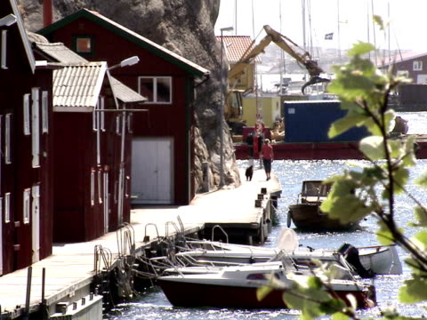 Boats and fishing-huts in Smogen Bohuslan Sweden.