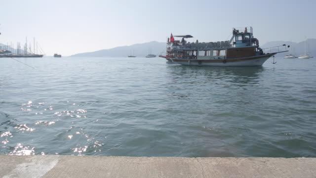boats and harbour, marmaris, anatolia, turkey - marmaris stock videos & royalty-free footage